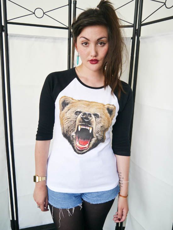 80f07f9d Bear Roar Womens Baseball 3/4 t-shirt, Baseball tee, Ladies, Bear top, Bear  tee, Bear Shirt, Animals, Urban Outfitters, Bears, New