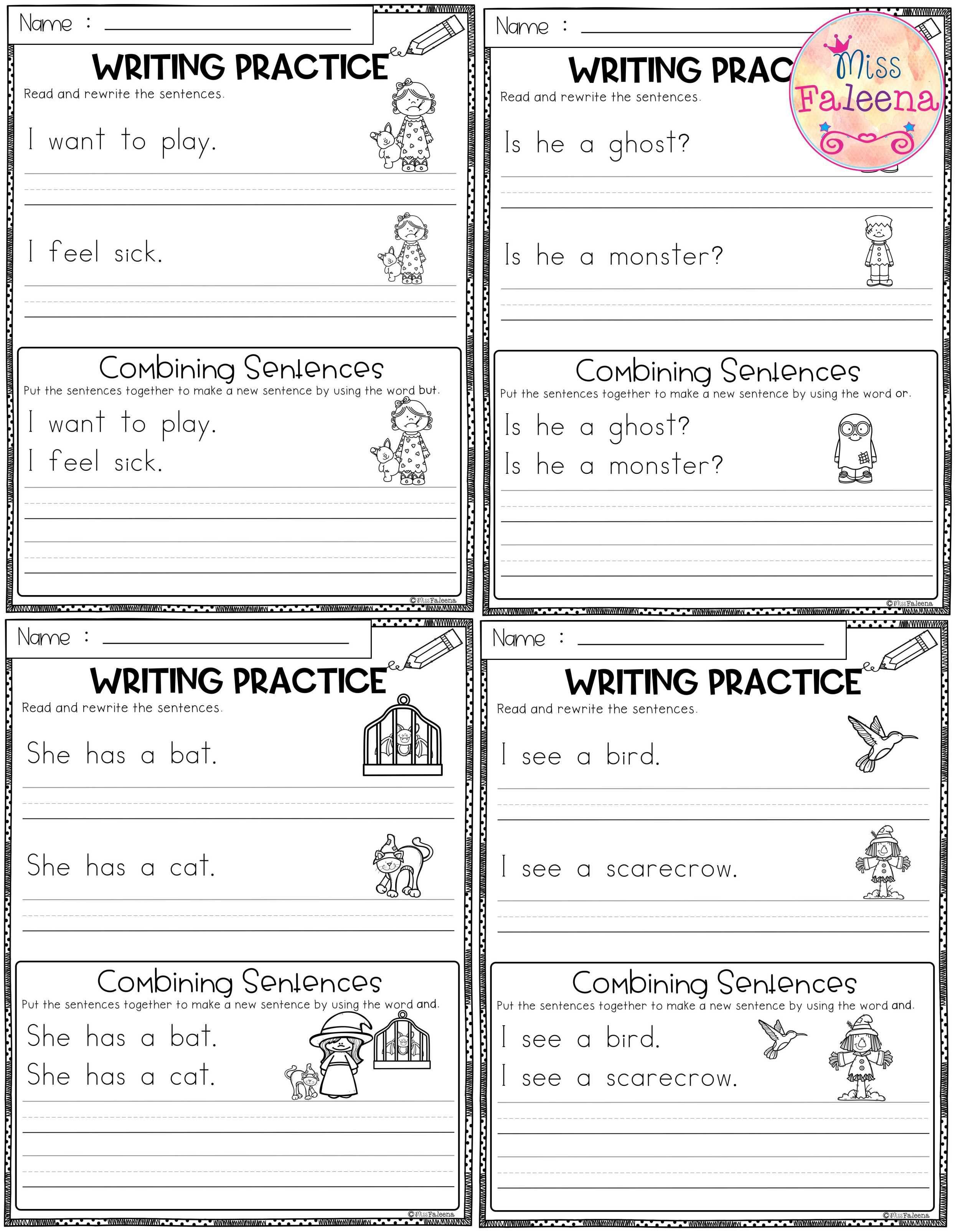 October Writing Practice Combining Sentences