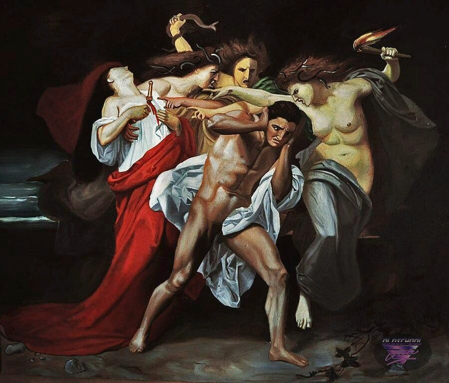 ORESTES PURSUED BY FURIES SNAKES GREEK MYTOLOGY PAINTING ART REAL CANVAS PRINT