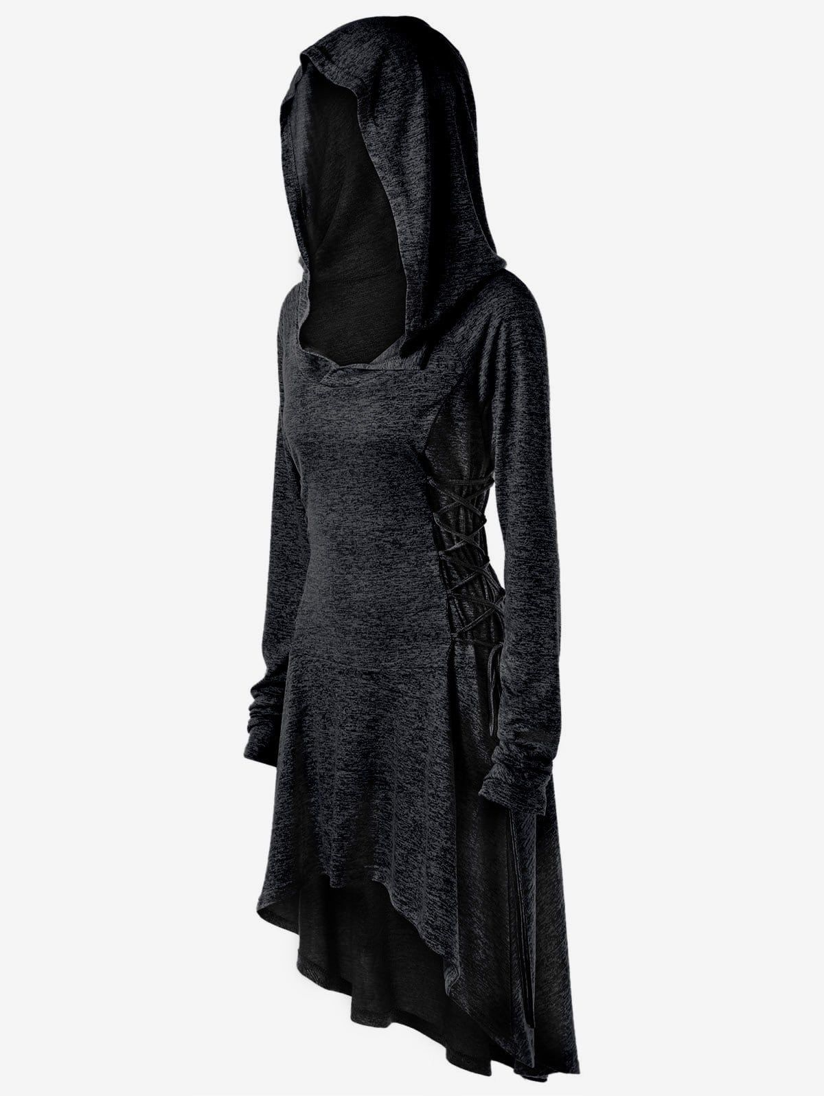 7a1f1438549 Cool for Head Hobs-- 34--XL is the smallest size-----Halloween Plus Size  Lace Up Marled Dip Hem Hoodie