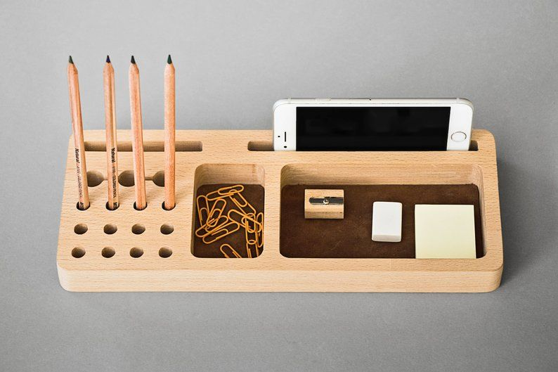 Leather Desk Organizer Wood Industrial Desk Accessories Tray Pencil Holder Card And Phone Holder Wooden Desk Organizer Leather Desk Organizer Desk Organization