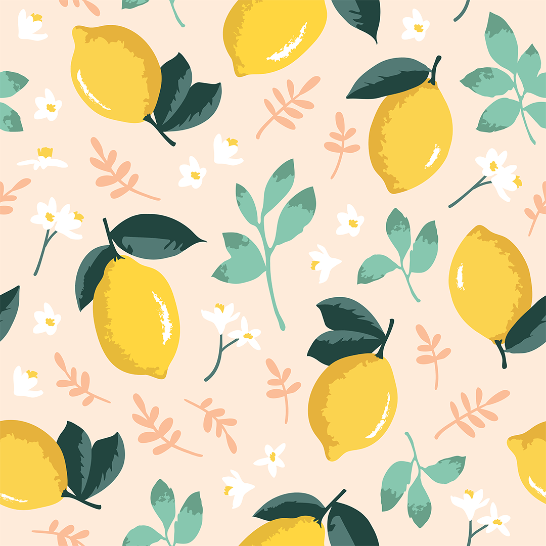 Mint Lemon Mural Wallpaper #designwallpaper