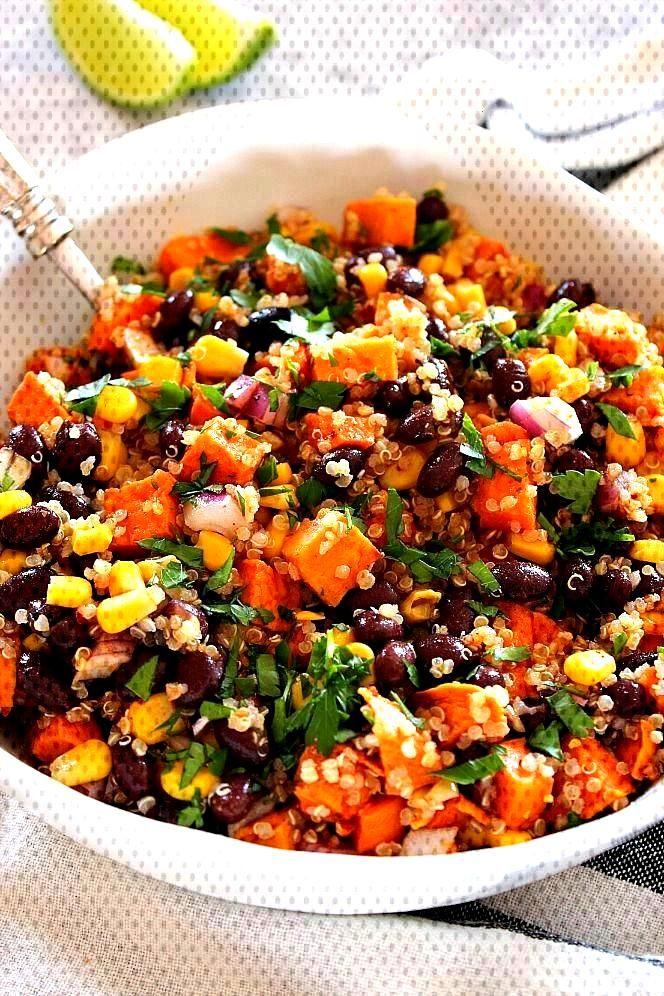 Roasted Sweet Potato Black Bean Salad Recipe - healthy and filling quinoa salad with cumin roasted