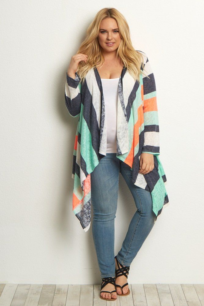 eb45710383e ... and thrifty during pregnancy! Neon Coral Colorblock Knit Plus Size  Cardigan