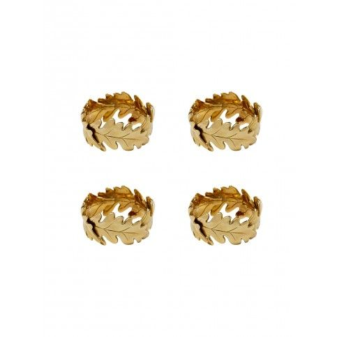 THE WELL APPOINTED HOUSE - Luxury Home Decor- Oscar de la Renta Oak Leaf Napkin Rings - Set of Four from www.wellappointedhouse.com