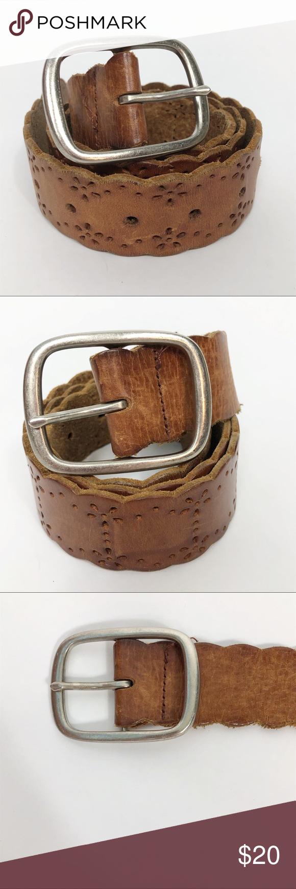 Aeropostale Tooled Leather Belt Cognac Leather Leather Tooling Aeropostale