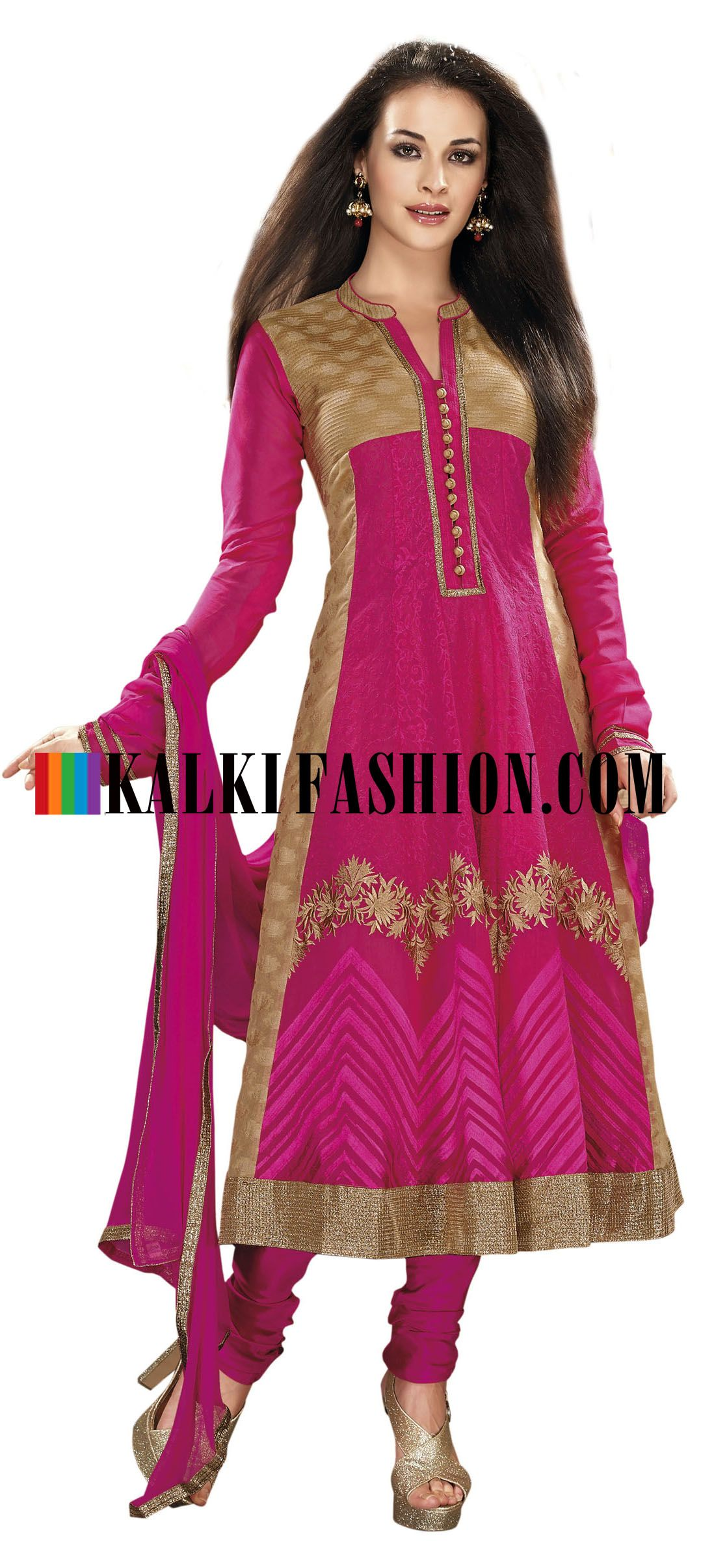 Buy Online from the link below. We ship worldwide (Free Shipping over US$100) http://www.kalkifashion.com/anarkali-suit-in-pink-and-beige-with-resham-embroidery.html Anarkali suit in pink and beige with resham embroidery