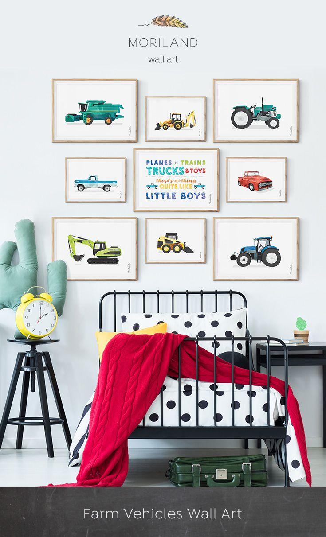 Backhoe Print Digger Art Construction Toddler Boy Room Decor Transportation Horizontal Wall Heavy Equipment Party