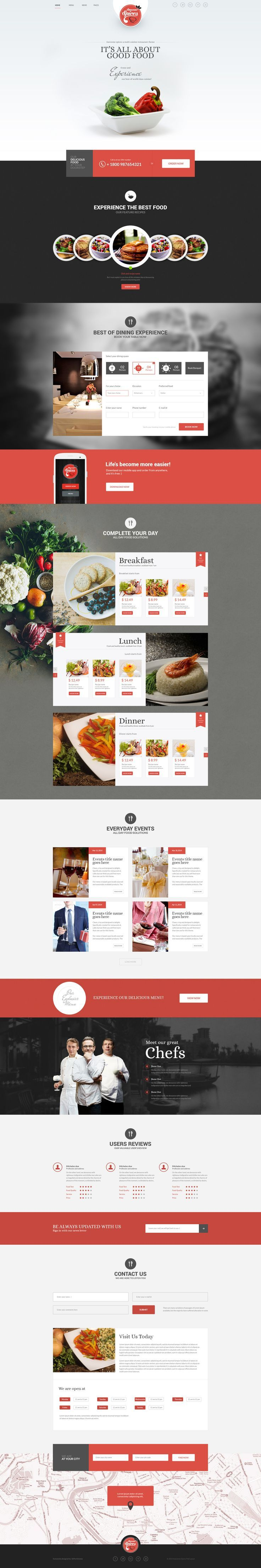 Awesome Spice One Page Restaurant Theme Download Themeforest Net Web Layout Design Web Design Food Web Design