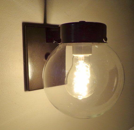 Modern Globe Glass Wall Sconce Light Bronze For Kitchen Bathroom Lighting Fixture Clear Mid Century
