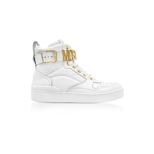 Moschino Shoes Optic White Leather High Top Women's Sneakers (9.755 ARS) ❤ liked on Polyvore featuring shoes, sneakers, white, moschino sneakers, leather high tops, white lace up sneakers, white shoes and leather hi top sneakers
