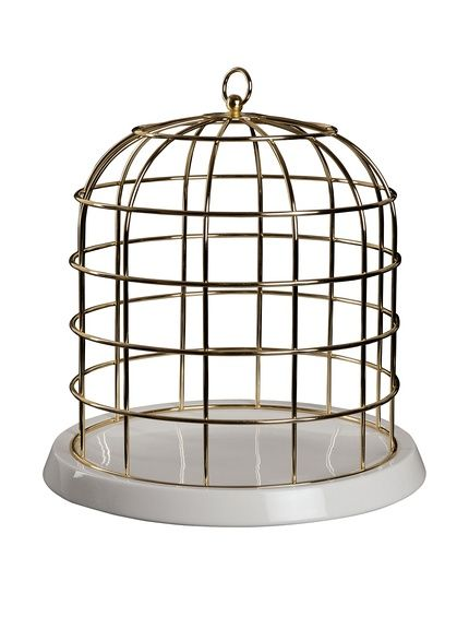 Seletti Twitable Metal Birdcage with Porcelain Base, Gold/White, $103