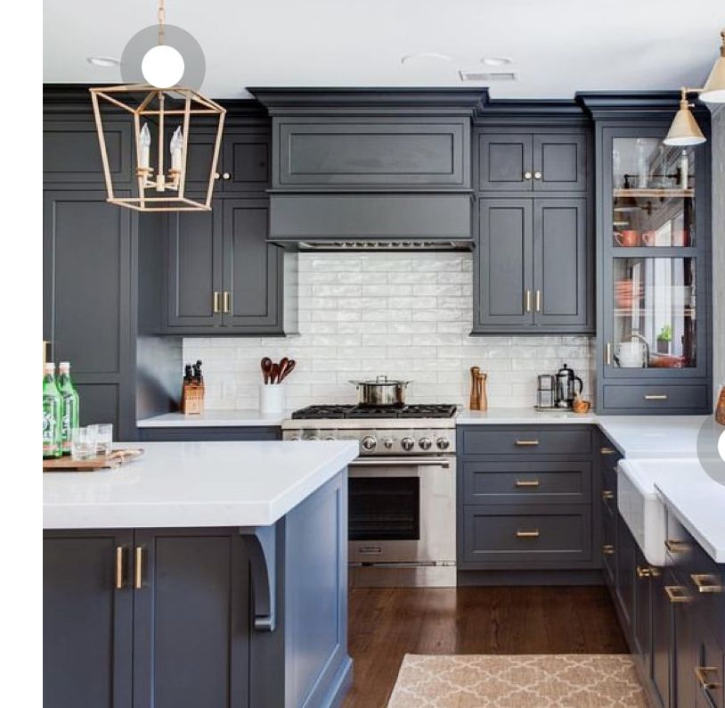 I Like The Blue Island And All White Perimeter Cabinets Modern Grey Kitchen New Kitchen Cabinets Grey Kitchen Cabinets