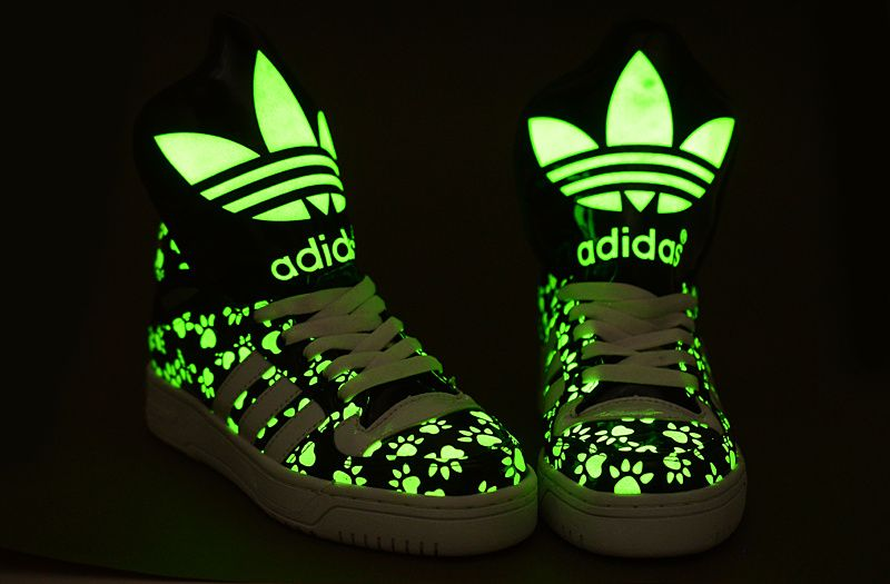 Adidas Big Tongue Bear's Paw Print Glow in the Dark High Tops Shoes Black  White