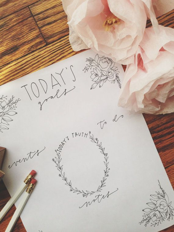 Simple Floral Daily Planner Instant Download by BrimPapery on Etsy, $3.00