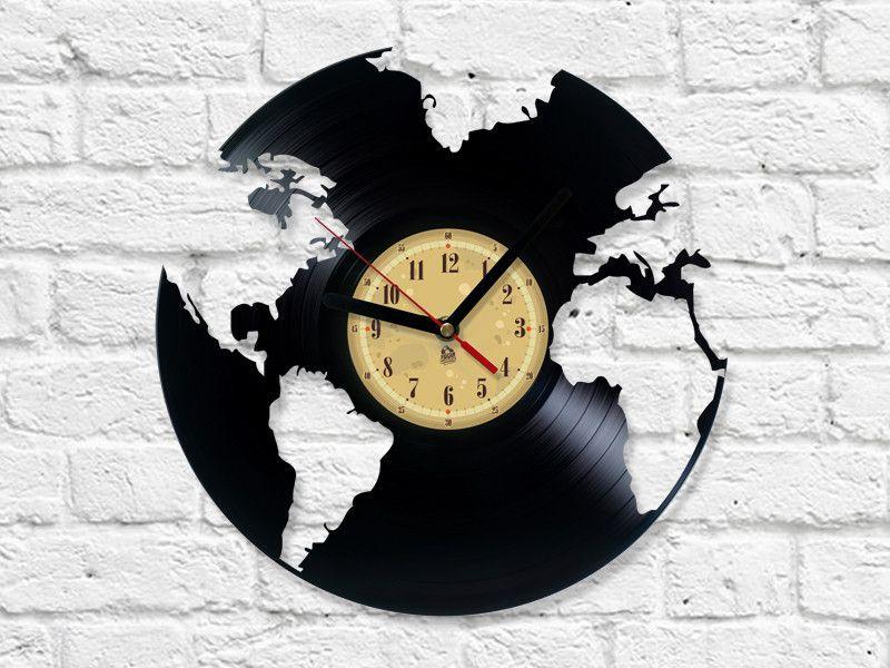 vinyl record clock world globe uhren schallplatte und. Black Bedroom Furniture Sets. Home Design Ideas