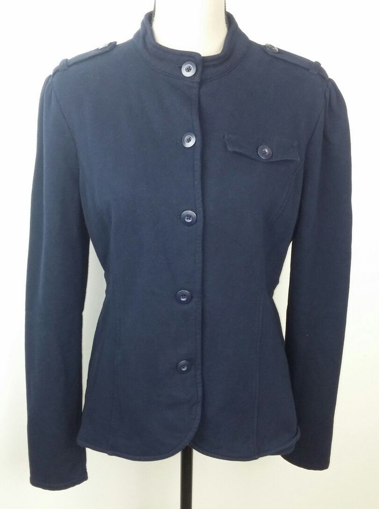 Converse One Star Women XL Sweatshirt Jacket Navy Blue Peplum Military  Style  ConverseOneStar  Peplum  Casual 29225acba47e