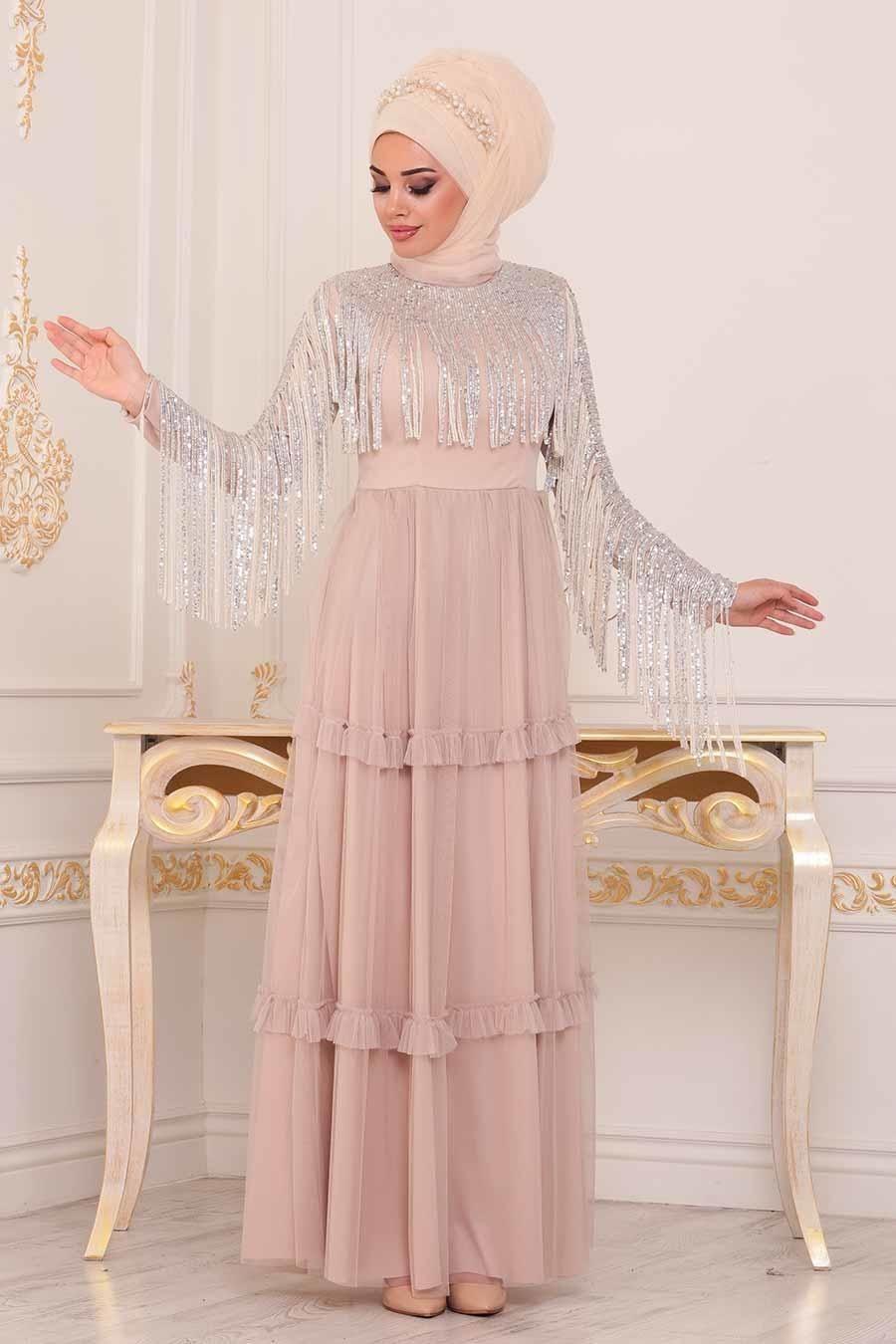 Tesetturlu Abiye Elbise Puskullu Biskuvi Tesettur Abiye Elbise 3823bs Tesetturisland Com The Dress Victorian Elbiseler Elbise