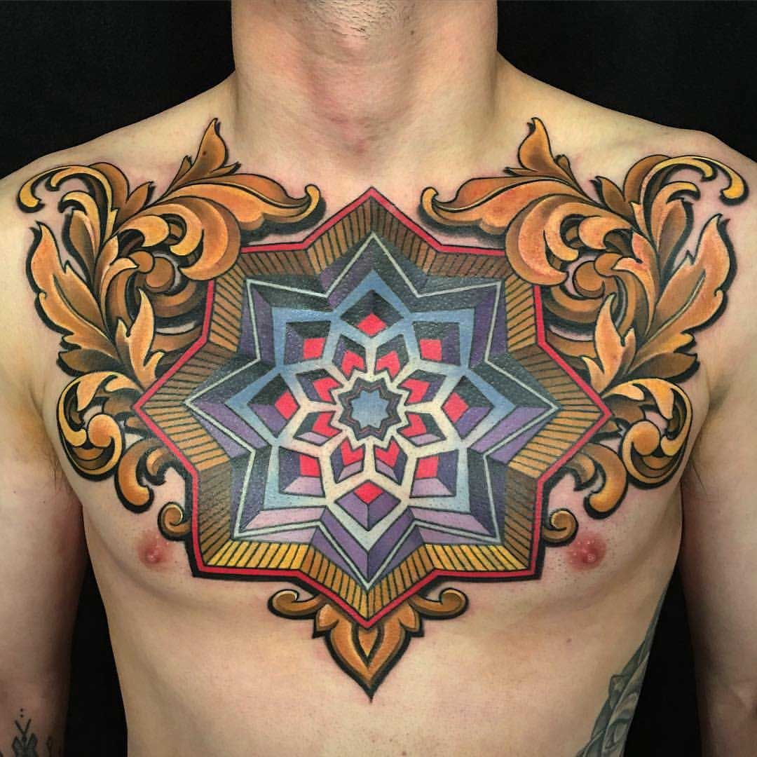 Neo-traditional Men Chest Tattoo