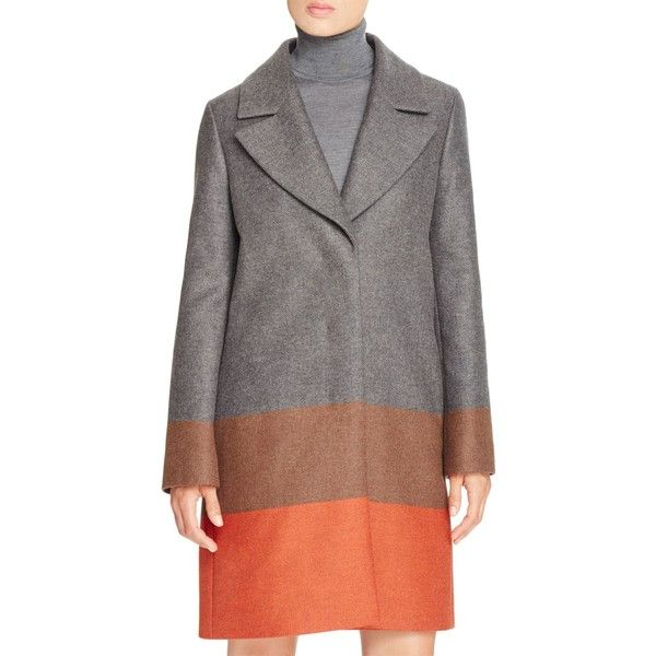 Boss Colora Color Block Coat ($895) ❤ liked on Polyvore featuring outerwear, coats, cinnamon fantasy, colorblock coat, color block coat, twill coat and boss hugo boss