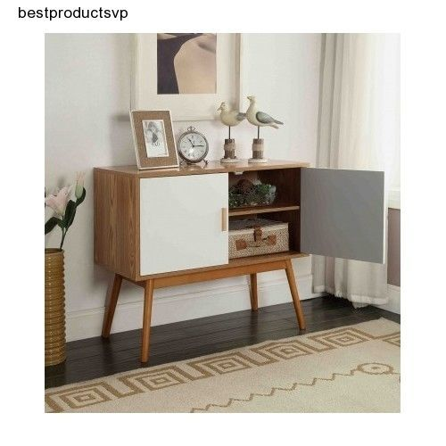 Ebay Mid Console Table Wood White Storage 2 Door Cabinet
