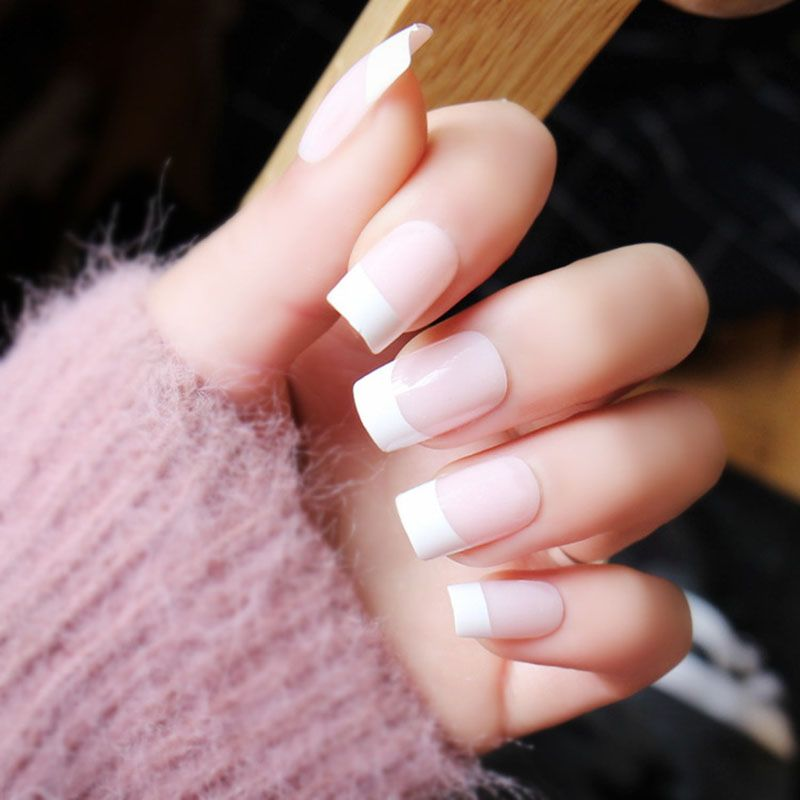 24pcs/set Pink pure color french false nails with Sided adhesive ...