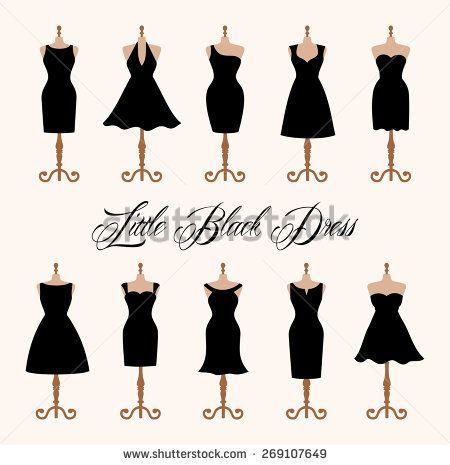 Little black dress fashion boutique. Set of ten different design of elegant and pretty cocktail and evening woman dresses on mannequin. vector art image illustration, isolated on white background - stock vector