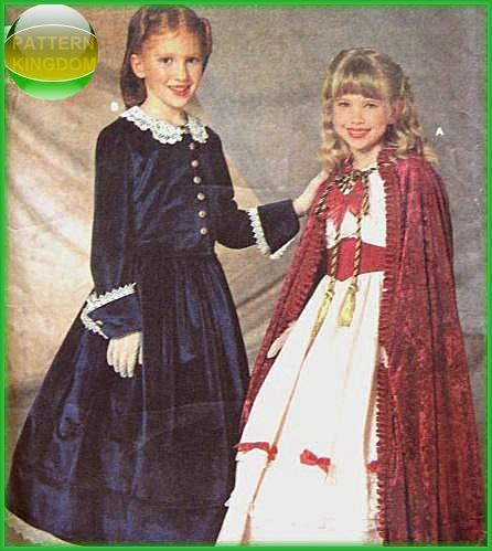 Simplicity 7306 Girls Fancy Victorian Dress & Cloak Patterns ...