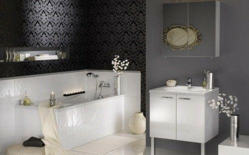 33 Dunkle Badezimmer Design Ideen   Bad Einrichtung Dunkle Wand Tapet  Kontrast Modern Bathroom Minimalistic Look
