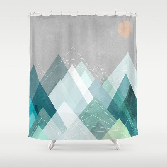 Blue Gray Mountain Shower Curtain Gray Blue White Shower Curtain