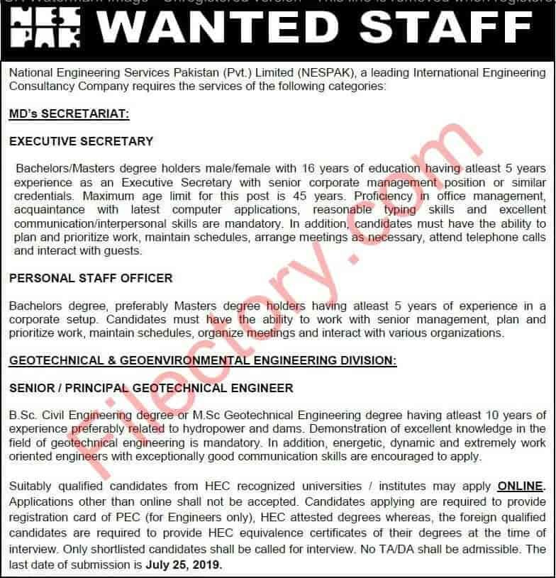 National Engineering Services Pakistan Nespak Jobs 2019 Apply