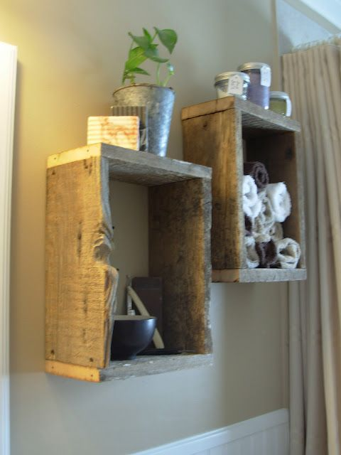 Box Shelves Out Of Reclaimed Wood Rustic Bathroom Decor Decor Rustic Decor