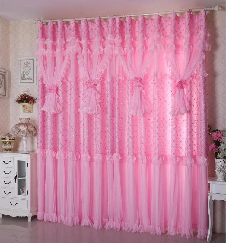 On Sale! Ready made shiny curtains+shade head+tulle two panel ...