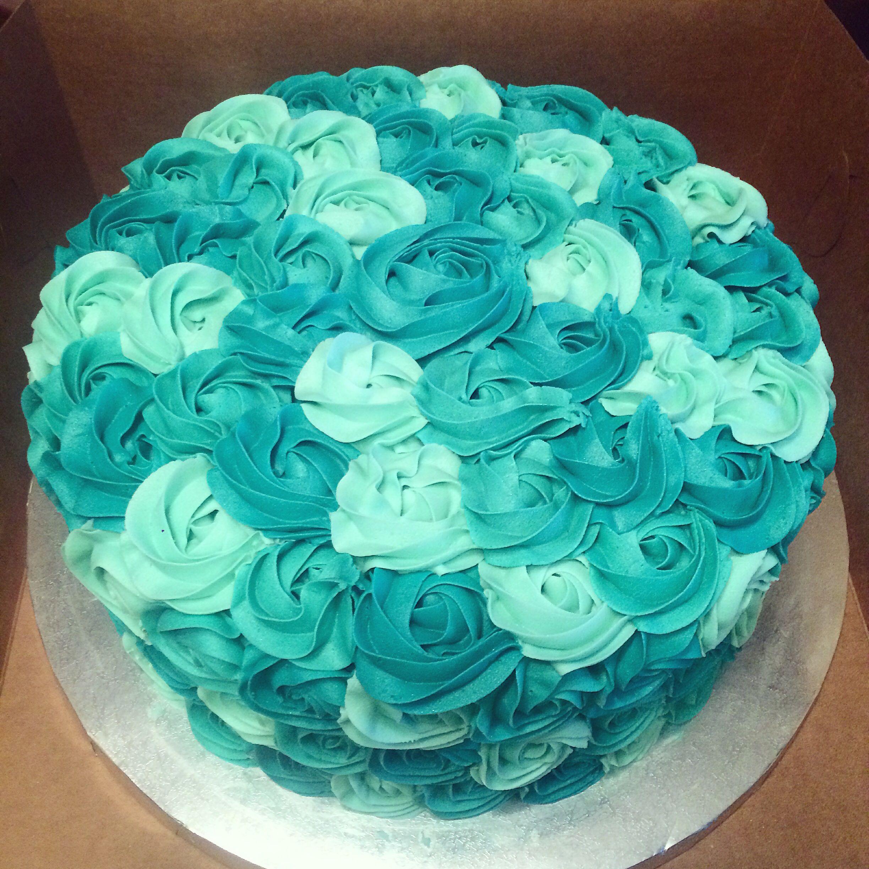 different shades of blue teal rosette cake my cakes pinterest cake. Black Bedroom Furniture Sets. Home Design Ideas
