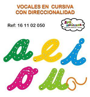 Vocales En Cursiva Con Direccionalidad Mateeial Didactico