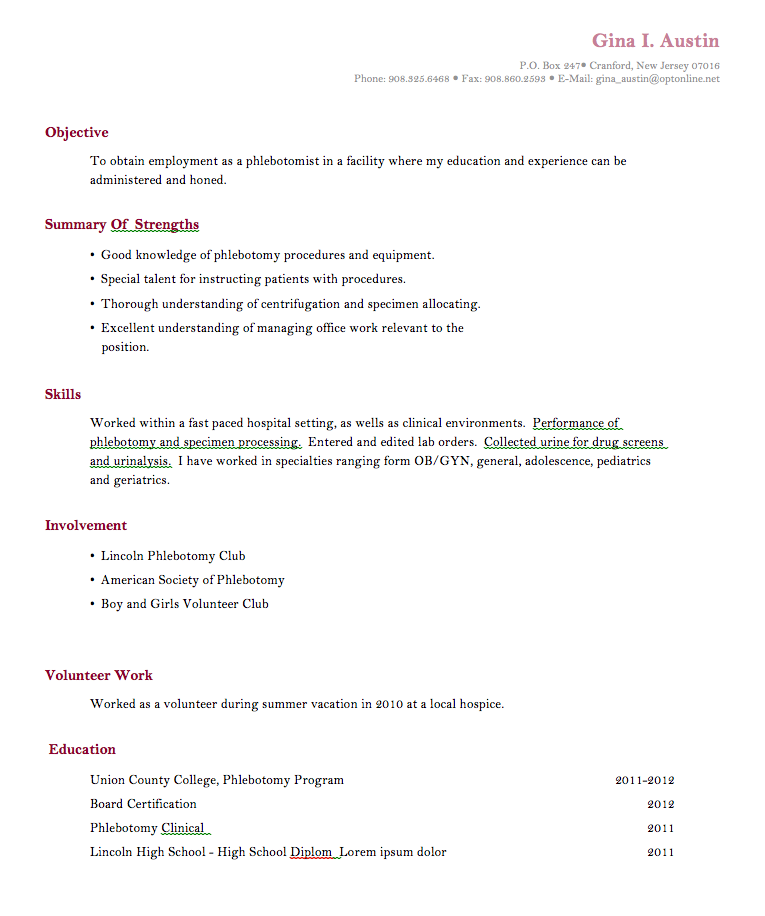 Phlebotomy Resume Sample: Phlebotomy-training-resume-no-experiance