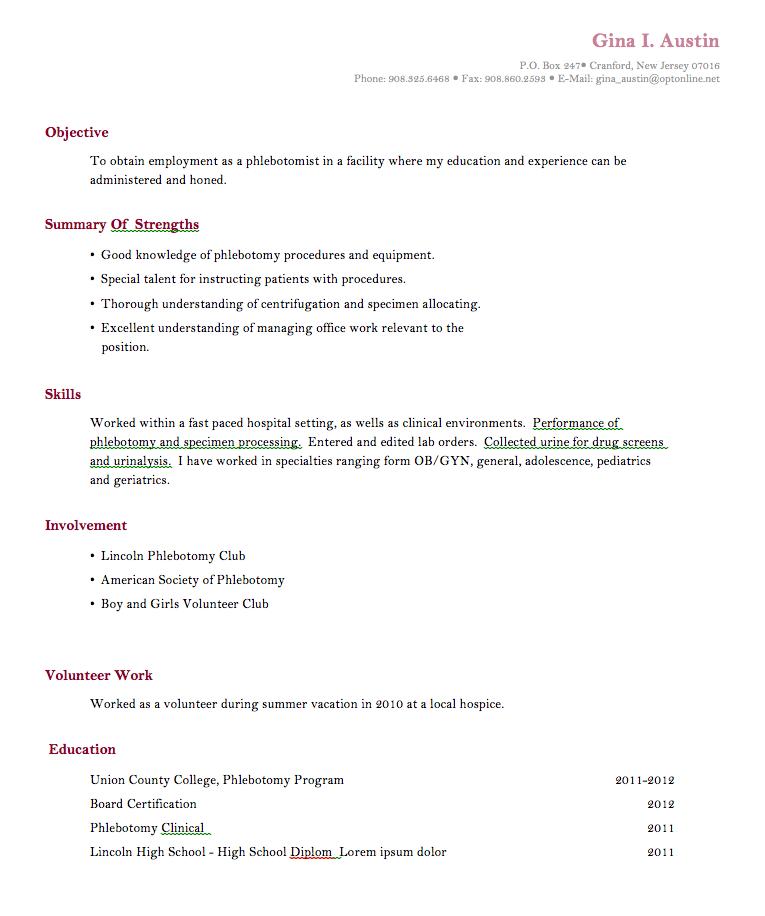 phlebotomytrainingresumenoexperiance Phlebotomy