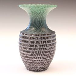 Ash coloured and textured vase