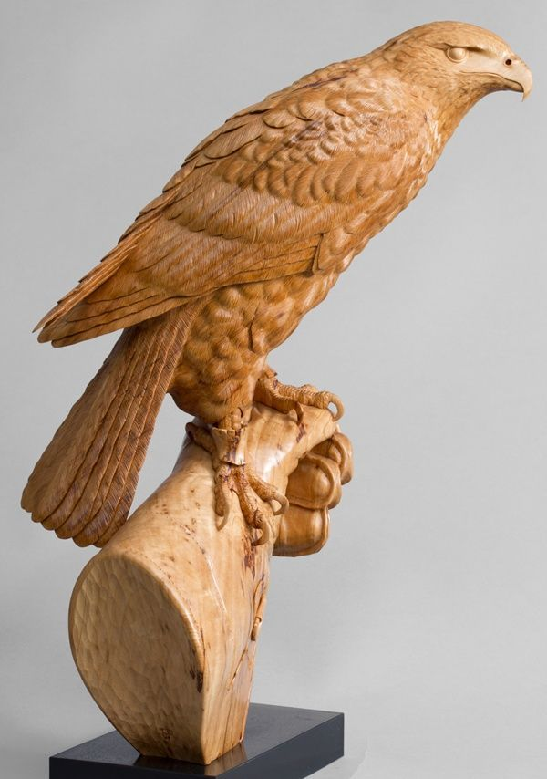 Lime wood #sculpture by #sculptor Bill Prickett titled: 'Harris`s Hawk on Glove (Original Carved Wood sculpture)'. #BillPrickett