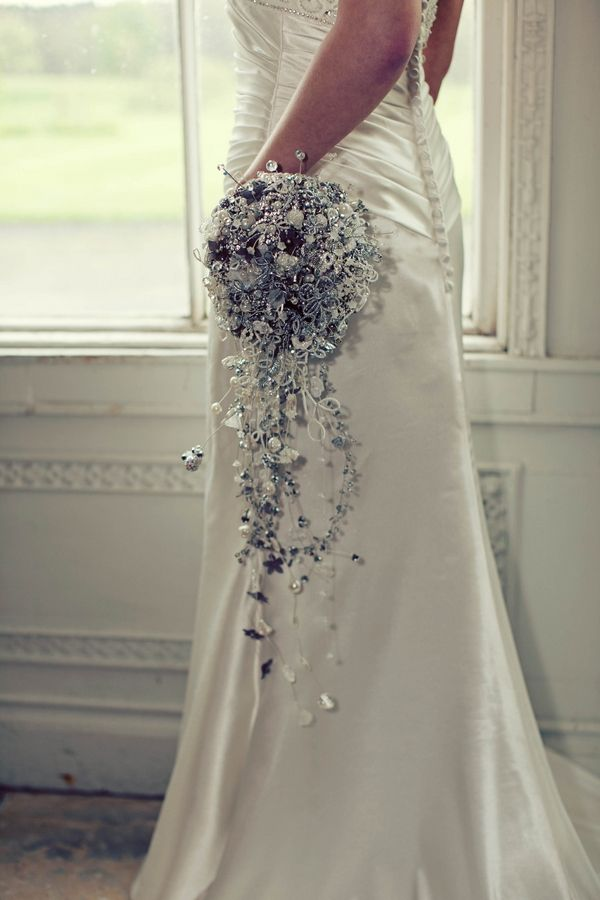 Gothic Wedding Styling At Browsholme Hall Crystal Bouquet