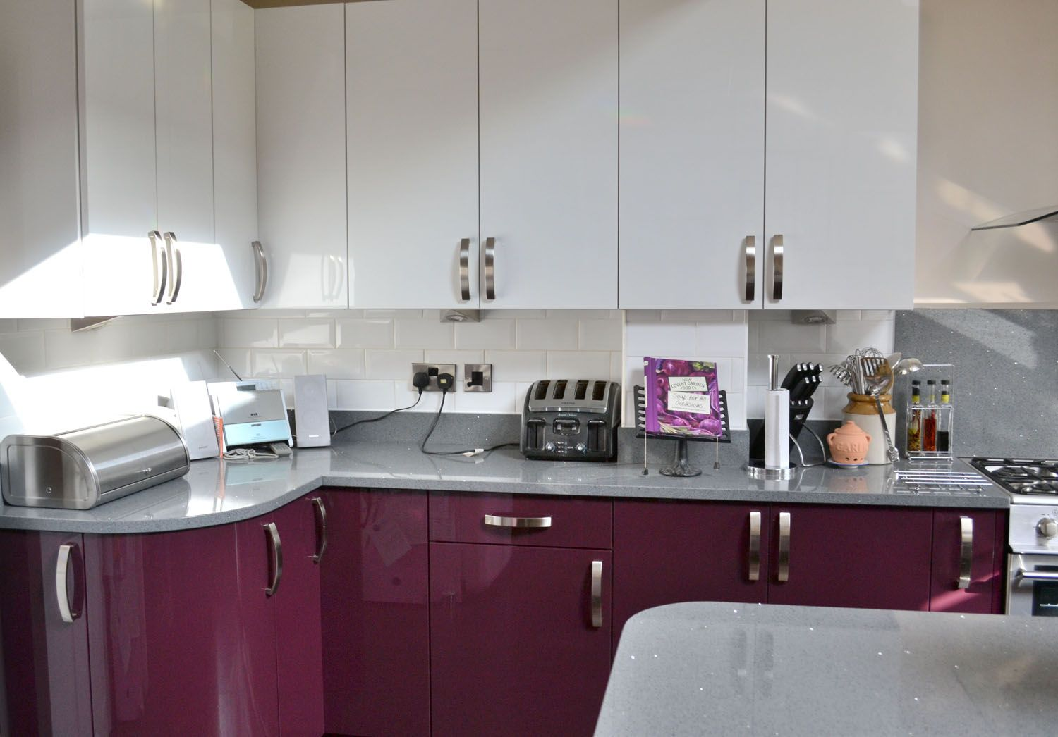 White and aubergine kitchen although we liked aubergine for Coloured kitchen units uk