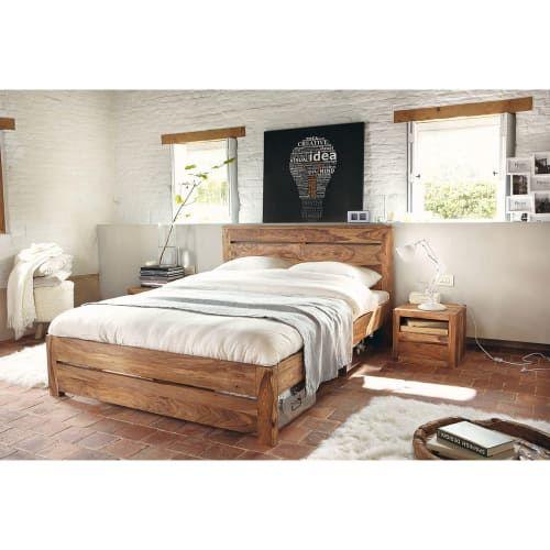Lit 140x190 en sheesham massif   Lit maison du monde, Base de lit en bois, Chambre à coucher bois