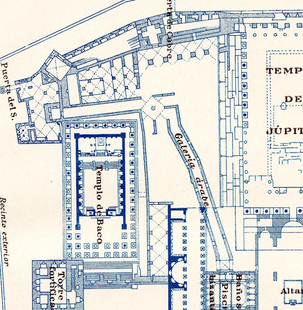 Baalbek Acropolis Floor Plan 1920s Vintage Print History