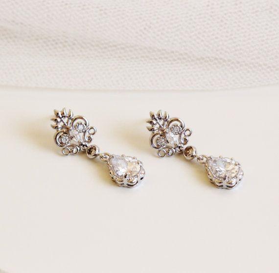 Crystal Bridal Earrings Vintage Style Earrings Wedding Jewelry Teardrop cubic zirconia Filigree Silver Post Gift for Mom