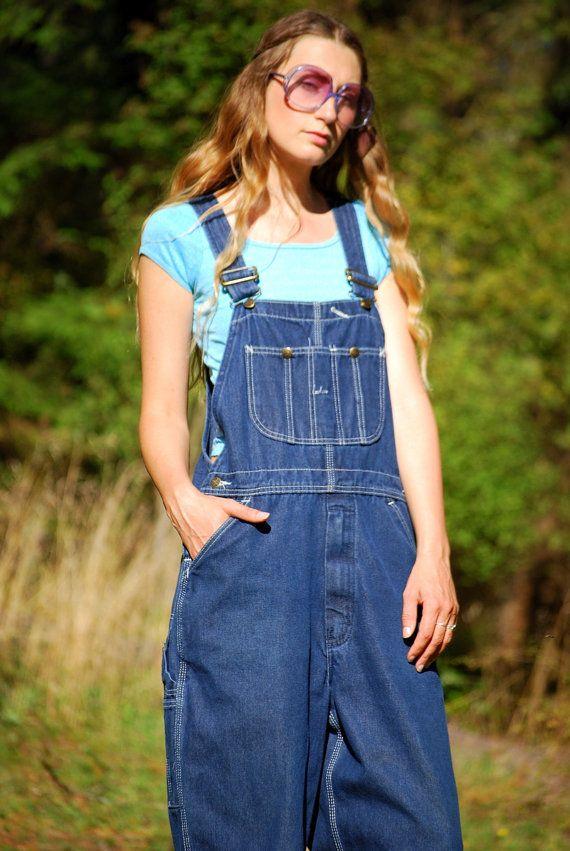 156edd9d6871 Vintage Denim Overalls SEARS 60s Dark Wash Blue Jean Overalls