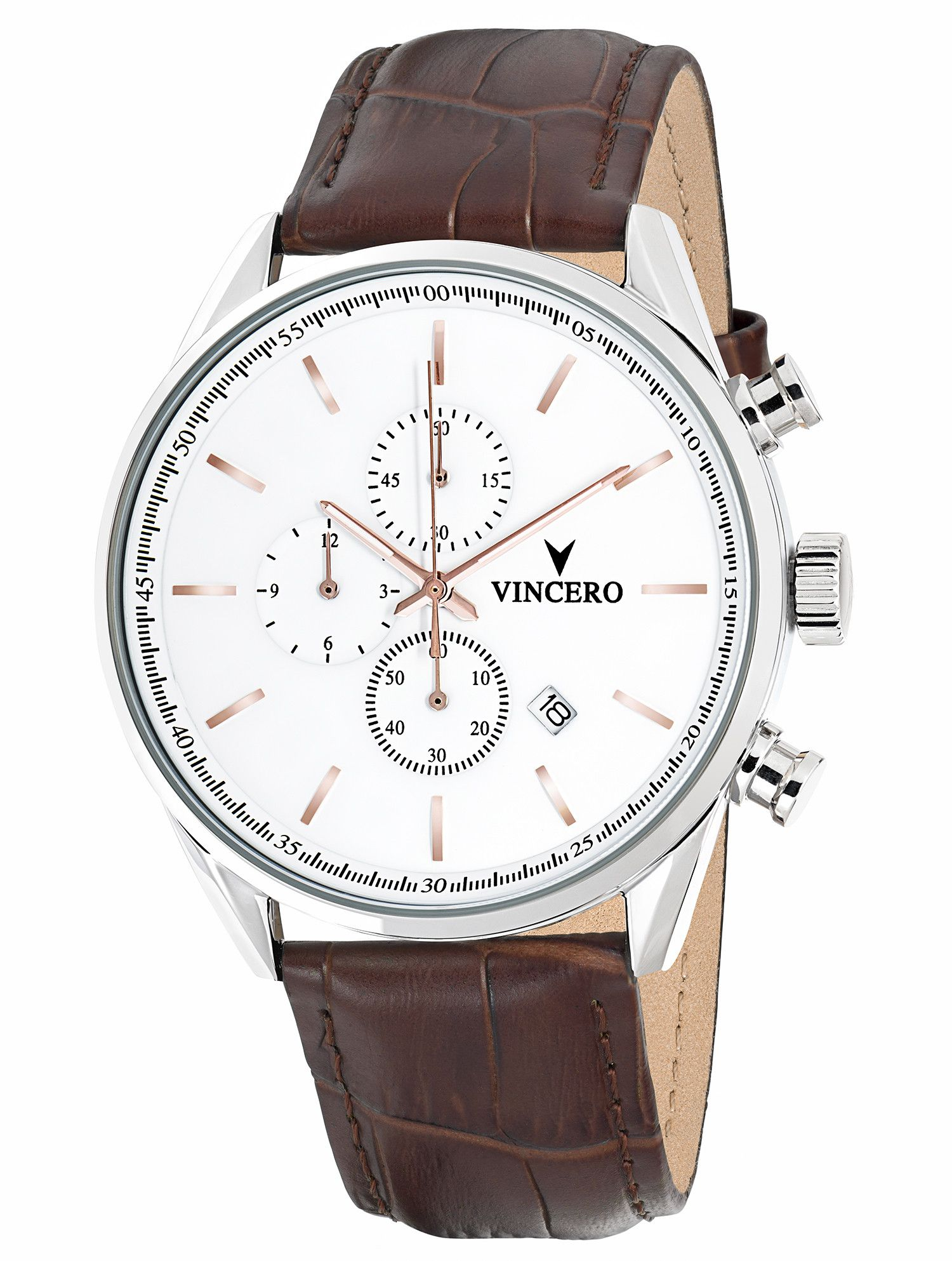 The Chrono S Rose Gold Luxury Watches For Men Watches For Men Brown Leather Band Watch
