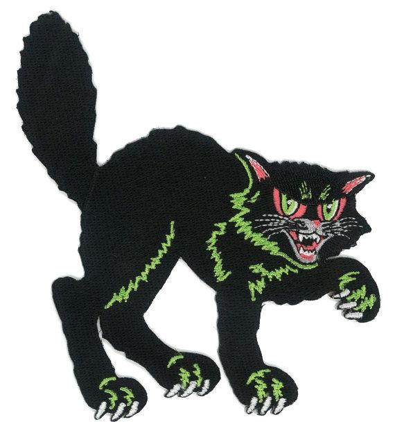 Halloween Black Cat Iron On Patch 50s 60s Vintage Decoration
