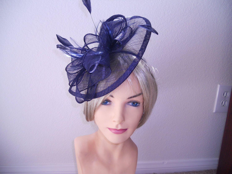 Navy Blue fascinator church hat wedding hat derby hat ascot hat ...