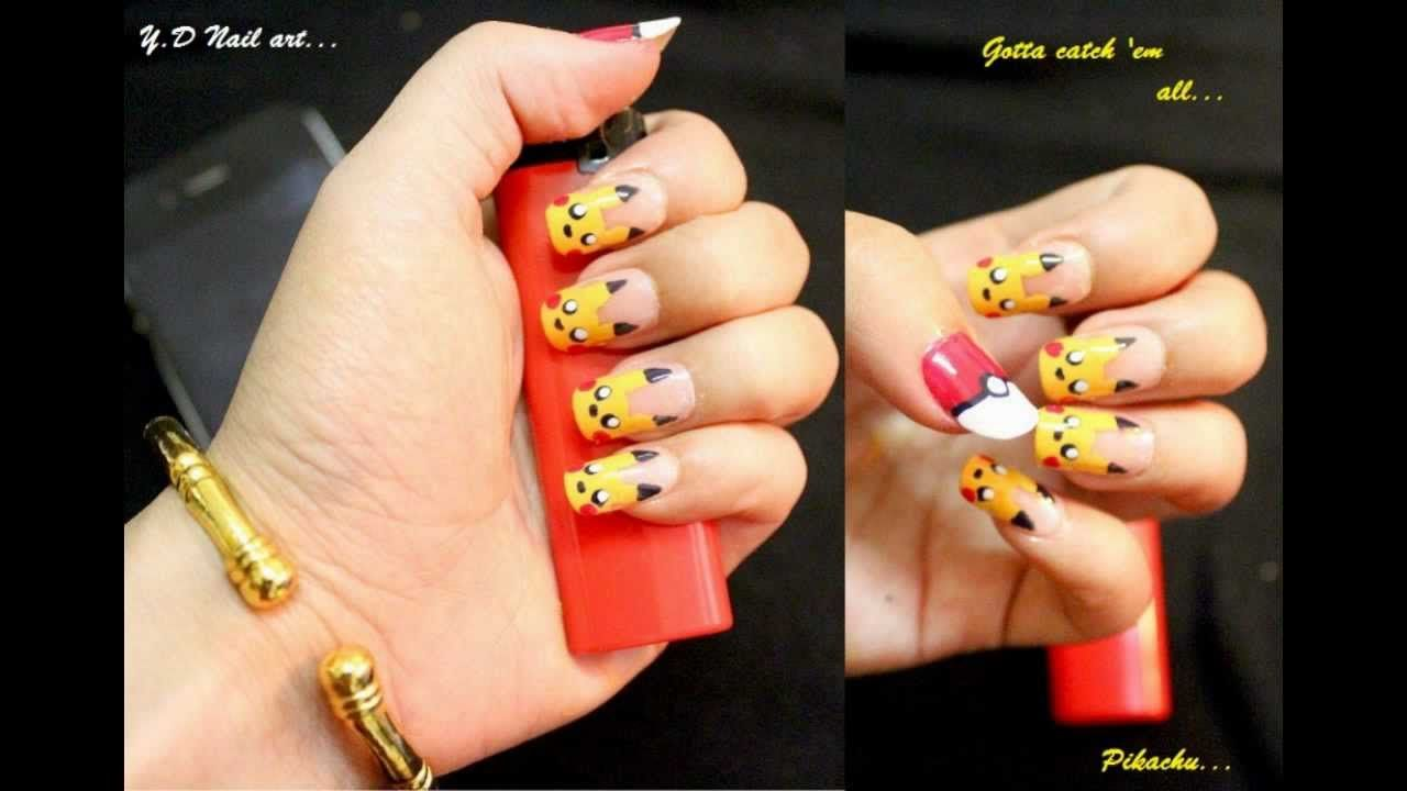 How to do Pikachu nail art manicure step by step DIY tutorial ...