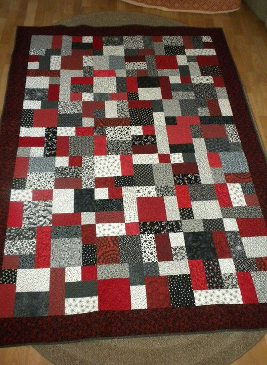 Yellow Brick Road Quilt In Red White And Black Fabrics Pink